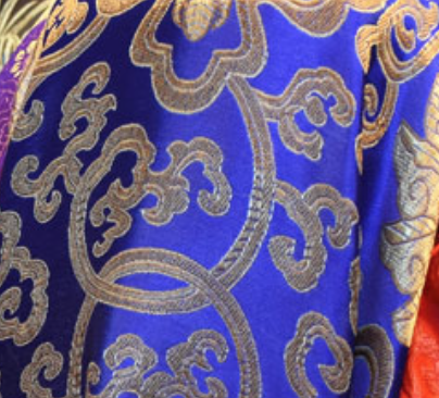 Blue with Gold Pattern Chinese Silk