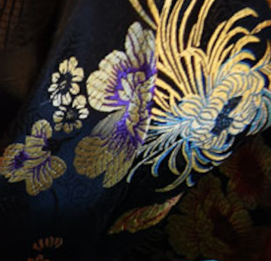 Black with Yellow and Purple Floral Chinese Silk