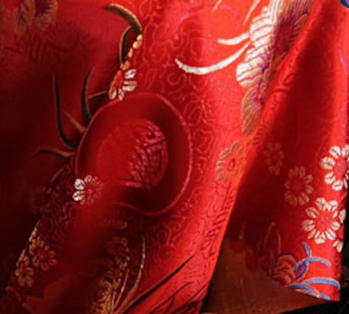 Red Floral Chinese Silk
