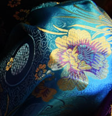 Turquoise with Yellow and Purple Floral Chinese Silk