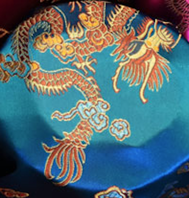 Turquoise Orange Dragon Design Chinese Silk